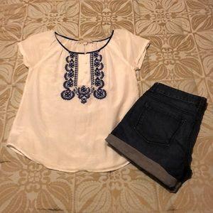 LOFT short sleeve peasant blouse XS